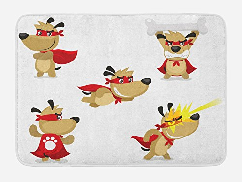 "Ambesonne Dog Bath Mat, Superhero Puppy Paw Costume and Mystic Powers Laser Vision Supreme Talents, Plush Bathroom Decor Mat with Non Slip Backing, 29.5"" X 17.5"", Cream Red"