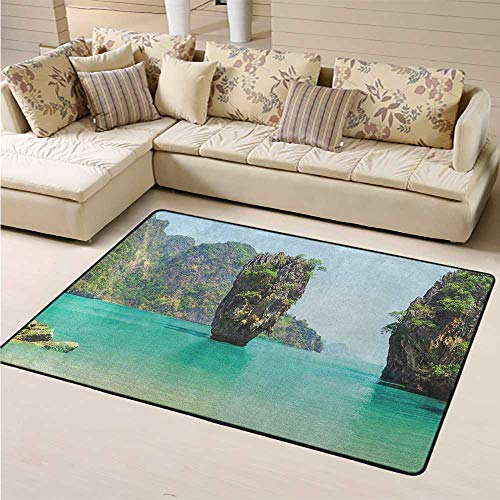 Carpet Area Rug Pads Island Contemporary Living & Bedroom Soft Area Rug James Bond Stone Island Landscape in Tropical Beach Cruising Journey of Life Photo for Children Kid Playroom Bedroom (6'6