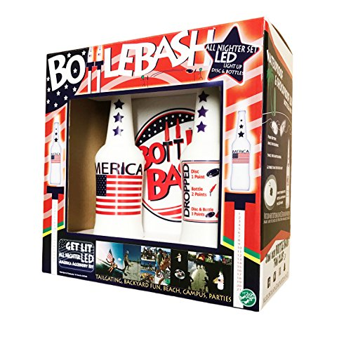 Poleish Sports Bottle Bash LED America Stars and Stripes Accessory Does Not Include Poles (Polish Horseshoes, Beersbee), 10.5 inch Disc (522-NITE)