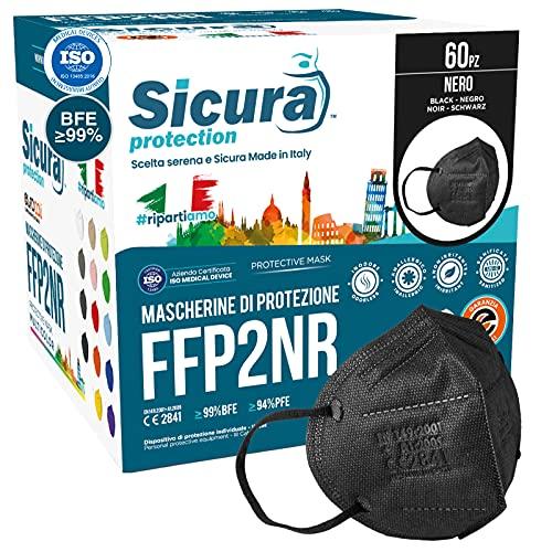 60 Mascherine FFP2 Certificate CE NERE Made in Italy BFE ≥99% Mascherina ffp2 italiane SANIFICATA sigillata singolarmente Pluricertificata ISO 13485 e 9001 EN 149:2001+A1:2009