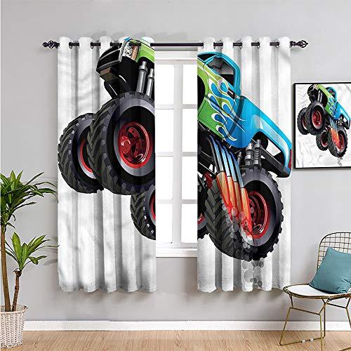 Pcglvie Coches cortina de aislamiento térmico, cortinas de 160 cm de longitud monstruo camión fresco de dibujos animados uso diario de 163 cm de ancho x 63 cm de largo