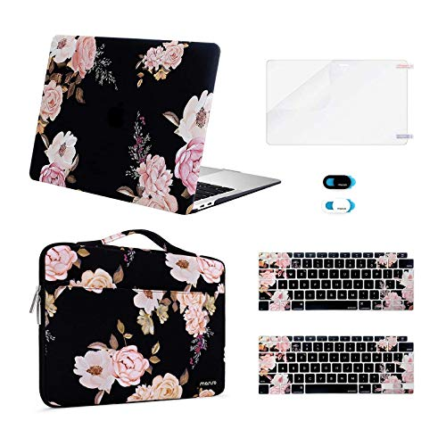 MOSISO MacBook Air 13 inch Case 2020 2019 2018 Release A2179 A1932, Plastic Peony Hard Shell&Sleeve Bag&Keyboard Cover&Webcam Cover&Screen Protector Compatible with MacBook Air 13 inch Retina, Black