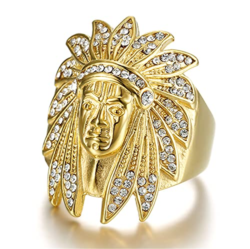 FLQWLL Anillos Jefe Indio,Diamantes Imitación Chapados En Oro Acero Inoxidable Accesorios Joyería Vintage De Nativos Americanos,8