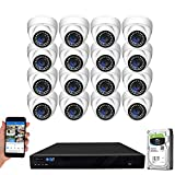 GW Security 16 Channel 4K NVR 5MP H.265 IP Surveillance Security Camera System with 16-Piece Super HD 1920P Weatherproof Microphone PoE Security Dome Cameras, AI Human Detection