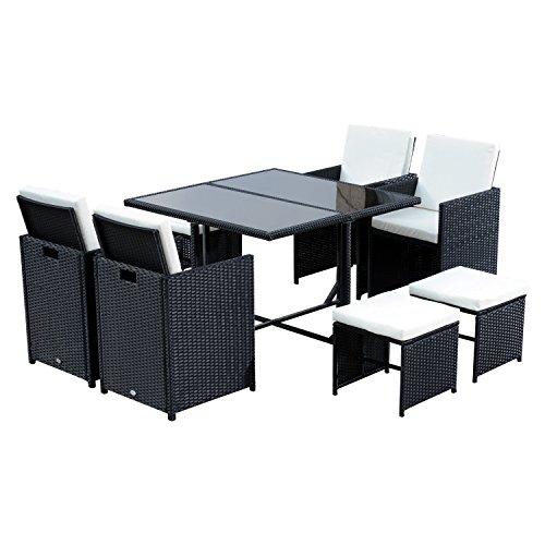 Outsunny Conjunto de Muebles de Jardín Comedor 9 Piezas de Ratán con Cojín para Terraza 1 Mesa + 4 Sillas + 4 Taburetes de Exterior Color Negro