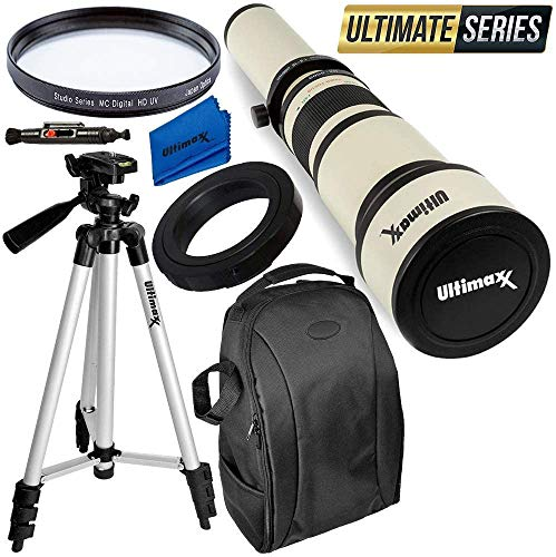 Ultimaxx 650-1300mm Telephoto Zoom Lens Kit for Canon EOS Rebel T3, T3i, T4i, T5, T5i, T6, T7 T6i, T6s, T7i, SL1, SL2, EOS 60D, 70D, 77D, 80D, 5D III, 5D IV, 6D, 7D, 7D II DSLR Cameras & More