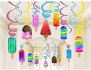 Kristin Paradise 30Ct Ice Cream Hanging Swirl Decorations, Summer Popsicle Party Supplies, Ice-Cream Birthday Theme, Kids ...