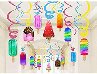 Kristin Paradise 30Ct Ice Cream Hanging Swirl Decorations, Summer Popsicle Party Supplies, Ice-Cream Birthday Theme, Kids Decor for First 1st Boy Girl Baby Shower, Ice Pop Paper Favors