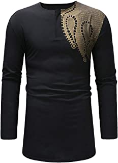 Men's Long Sleeve African Dashiki Print Shirt Blouse for Autumn Winter