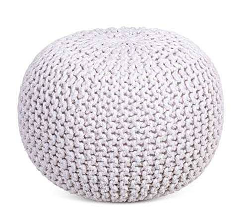 BIRDROCK HOME Round Pouf Foot Stool Ottoman - Knit Bean Bag Floor Chair - Cotton Braided Cord - Great for The Living Room, Bedroom and Kids Room - Small Furniture (Ivory)