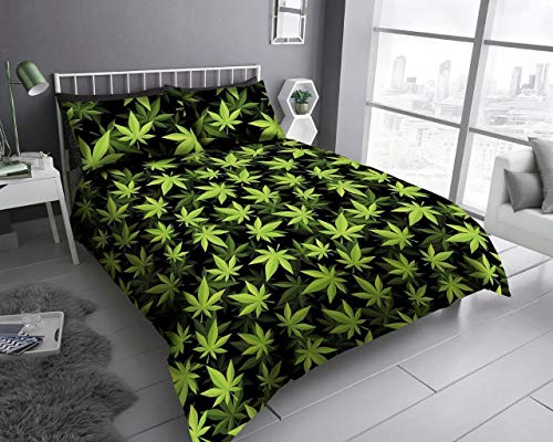 QM-Bedding New Luxuries Designer WEED LEAF Printed QUILT DUVET COVER + Pillow Case (LEAF BLACK/GREEN, Double)