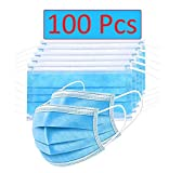 Bildos Non Woven 25GSM Fabric Masks with Nose pin 3 Layer Pollution Face Dust Surgical Disposable Mask (100) - Blue