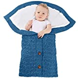 LAREZZ Newborn Swaddle Blankets - Thick Fleece Knit Stroller Wraps - Receiving Blankets for Baby Boys Girls - Suitable for 0-12 Months (Dark Blue)