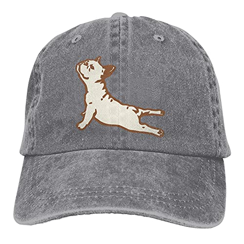 Grey Baseball Cap for Men Adjustable French Bulldog Yoga Vintage Trucker Hats Cotton Low Profile Washed Dad Hat for Women Outdoors Sports Girls Boys