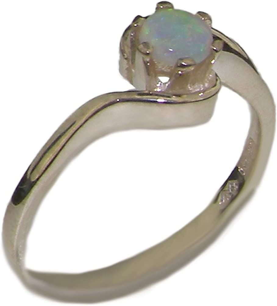 925 Sterling Silver Real Genuine gift Engagemen Solitaire Opal Womens low-pricing