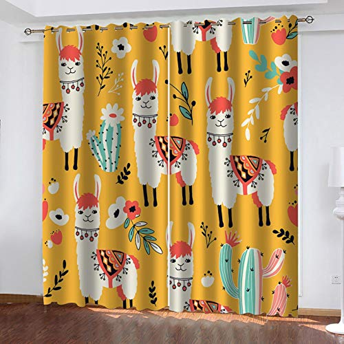 WLHRJ blackout curtains for bedroom living rooms kids kitchen window 3D Digital printing curtains eyelet - 92x54 inch - Alpaca cactus pattern