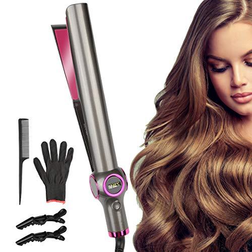 Etmury Glätteisen & Lockenstab - Curl&Straight 2in1 Multistyler [Upgrade]: geschwungene Stylingplatten zum Glätten, Locken & Wellen, Haarglätter mit Temperatureinstellung