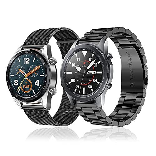 baklon 2 Piezas Compatibles con Galaxy Watch 46mm, 22mm Correa Deportiva de Acero Inoxidable de Repuesto Compatible con Samsung Galaxy Watch 3 45mm/ Huawei Watch GT 2 46mm, Negro