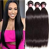 Ali Julia Wholesale 10A Peruvian Straight Virgin Hair Weave 3 Bundles 100% Unprocessed Remy Human Hair Weft Extensions 95-100g/pc (8 10 12', Natural black color)