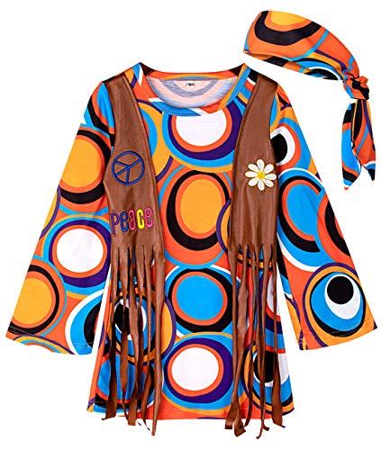 mintgreen Süßes Hippie Mädchen Kinderkostüm mit Stirnband Fancy Dress (Kreis, L/130-140cm)