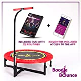 Boogie Bounce Mini Adult Fitness Trampoline With Adjustable T-bar Stability Handle. Max Weight 25 Stone. HIIT Workout DVD and Mobile App.