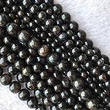 MUZIWENJU Natural Genuine Black astrofillite Allentati Rotondi della Pietra preziosa Stone Beads 6 Millimetri 8mm 10mm 12mm 15 (Taglia : 4mm)