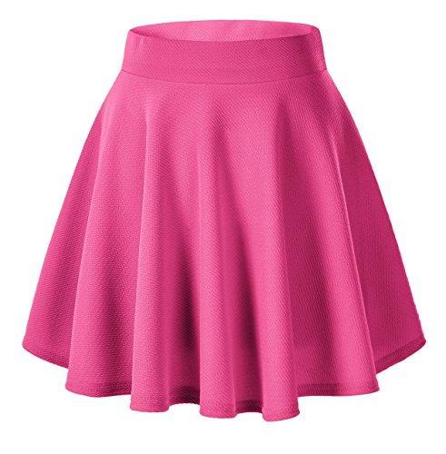 Urbancoco Damen Mädchen Basic Solid vielseitige dehnbaren informell Mini Skater Rock (XL, hot pink)