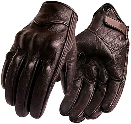 LYB Hombres Touch Pantalla Cuero Bicicleta eléctrica Guante Ciclismo Full Ding Motorbike Moto Bike Motocross (Color : Brown, Size : M)