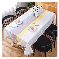 WZHONG テーブルクロス長方形スクエアコットンリネンテーブルカバーホームデコレーション防水耐汚染性タッセル縞模様のテーブルクロス、9つのサイズ (Color : White, Size : 140x180cm)