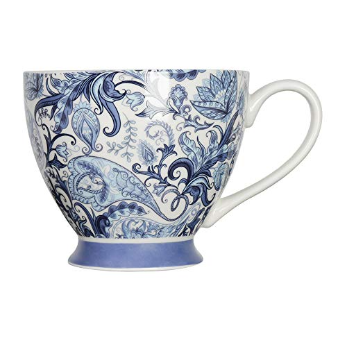 ProCook Tasse mit Fuß - Paisley-Muster - Porzellan - Kaffeetasse - Teetasse - Blau & Weiß - 300 ml