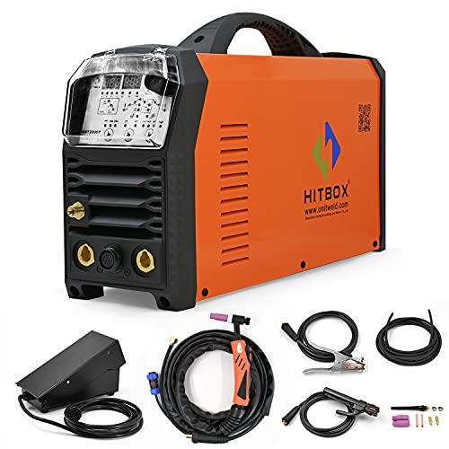 HITBOX Máquina de Soldadura TIG TIG AC/DC PFC 200A Soldadora TIG de pulso 4 en 1 Máquina de soldadura TIG de aluminio de acero de alta frecuencia ARC/HF TIG/TIG PULSE/AC Square Wave