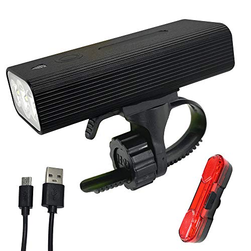 Bike Light Set USB Rechargeable,1000 Lumens 3 LED Super Bright,IPX5 Waterproof,Bicycle Front Headlight and Back Taillight,6400mah Lithium Battery,Compatible : Road Mountain Bikes