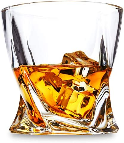 LANFULA Twisted Whiskey Glasses Set of 4 Crystal Rocks Glassware and Old Fashioned Cocktail product image