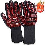 MILcea Grillhandschuhe 800 ° C BBQ Handschuhe Grill Hitzebeständige Grillhandschuhe Backhandschuhe Topfhandschuhe Ofenhandschuhe Kochhandschuhe für Küche & Grill Kochen Backen Schweißen,Unisex-Rot