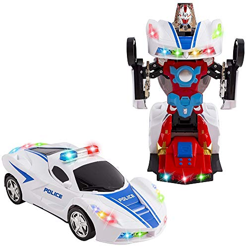 Transforming Robot Police Car Toy with 2 in 1 Models - 1 Button Transformation with Realistic Engine Sounds, Multicolor Lights, 360° Degree Spinning - Ideal Kids Boys Girls Holiday Birthday Gift