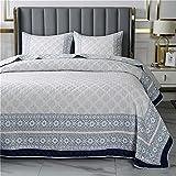 3 PCS colchas acolchadas Luz de gris gris azul Floral impreso 100% algodón gris cobardets transpirable manta acolchada 230x250cm