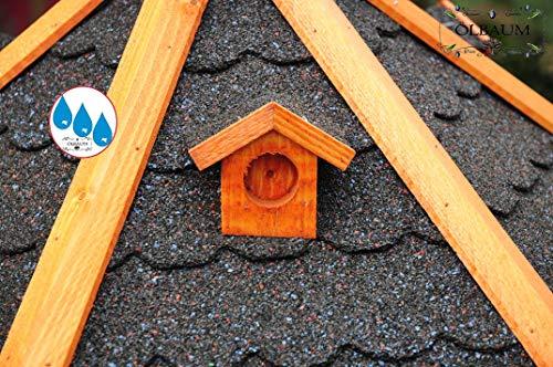 Massiv-Vogelhaus, XXL ca. 70-75 cm, wetterfest Massivdach, mit Silo / Futtersilo für Winterfütterung -Holz Nistkästen & Vogelhäuser- aus Holz mit Silo Holz mit Dach schwarz anthrazit dunkel grau BGX75atOS - 4