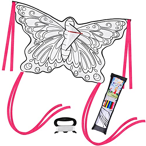 JOYIN DIY Butterfly Kite with 8 Watercolor Pens and Kite String, Kids Kite Making Craft Kit, Color Your Own Kite, Decorating Butterfly Kite, Large Beach Kite Easy to Fly Kite for Outdoor Activities