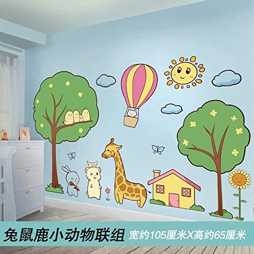 Hauteur autocollant dessin animé sticker mural décoration murale environnement mise en page sticker mural-lapin, souris, cerf et petit groupe d'animaux [facturable] _Big