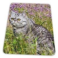 マウスパッド ショットヘア猫 花畑 ゲーミングマウスパット デスクマット 最適 高級感 おしゃれ 滑り止めゴム底 防水設計 複数サイズ