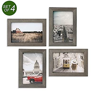 Emfogo Picture Frames 4x6 Collage Picture Frames Rustic Wood Photo Frame for Tabletop or Wall Mount Made of Solid Wood and High Definition Glass Pack of 4 Weathered Grey