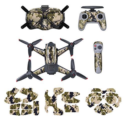 O'woda FPV Adesivi Set per Drone Corpo + FPV Goggles V2 + Telecomando + Rocker, PVC Sticker, Impermeabile AntiGraffio Skin, Pellicola Protettiva per DJI FPV Accessori (Verde)