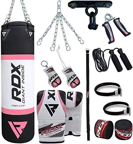 RDX Damen Boxsack Set Gefüllt Kickboxen MMA Muay Thai Boxen mit Deckenhalterung Stahlkette Training Handschuhe Kampfsport Schwer Frauen Punchingsack Gewicht 4FT Punching Bag (MEHRWEG)