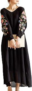 (Goldjapan)ゴールドジャパン 大きいサイズ レディース 刺繍 ワンピース マキシ丈 フリンジ付き 体系カバー