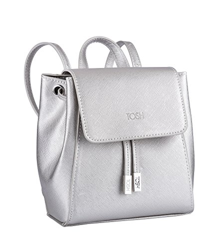 TOSH Ladies Backpack City Backpack Small Magnetic Closure Zip Adjustable Shoulder Straps Metallic Silver (734-123)