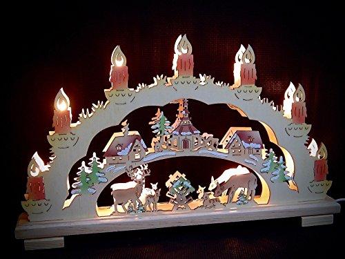 3D Lichterbogen Schwibbogen Tiere im Wald Rehe 45 cm Bemalt 10 Kerzen