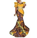 iooiooi Womens Elegant Ankara Maxi Mermaid Dress Lace Decorated African Gowns