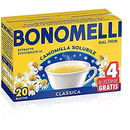 Bonomelli Manzanilla soluble clásico, concentrado extracto de flores seleccionadas, aporta momentos de calma y relax, Paquete de 20 bolsitas de té