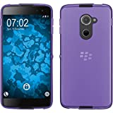 PhoneNatic Case kompatibel mit BlackBerry DTEK60 - lila Silikon Hülle transparent + 2 Schutzfolien