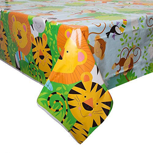 Party-artikel, jungle-dieren Plastic tafelkleed. multicolor